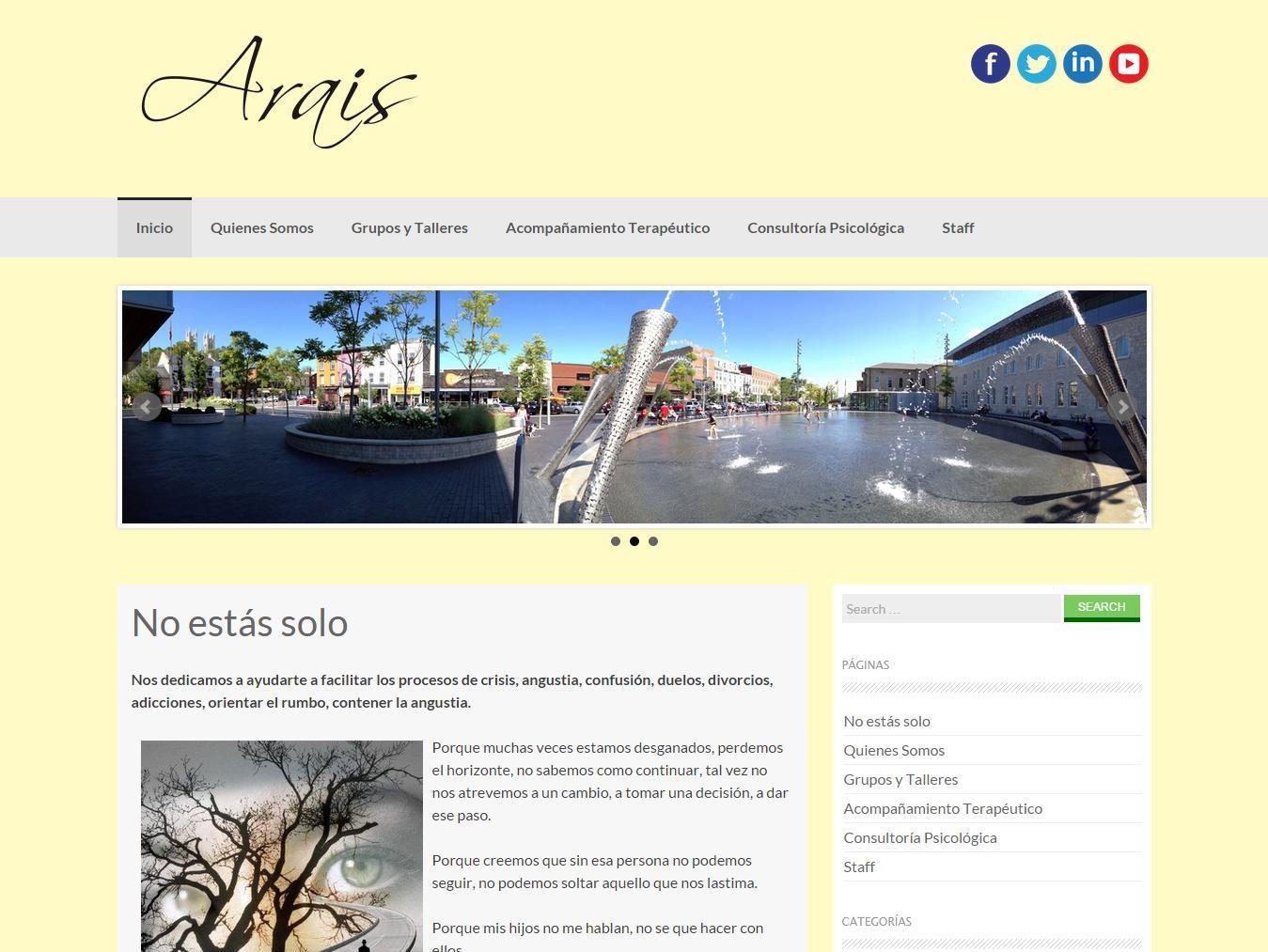 Screenshot del sitio Web de Arais Grupo Terapéutico