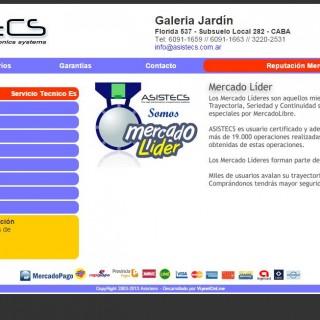 Screenshot del sitio Web de Asistecs