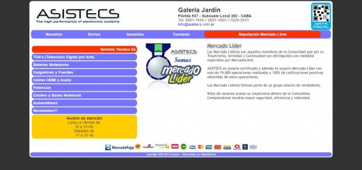 Screenshot del sitio Web de Asistecs
