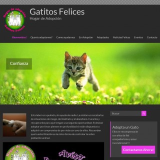 Screenshot del sitio Web de Gatitos Felices