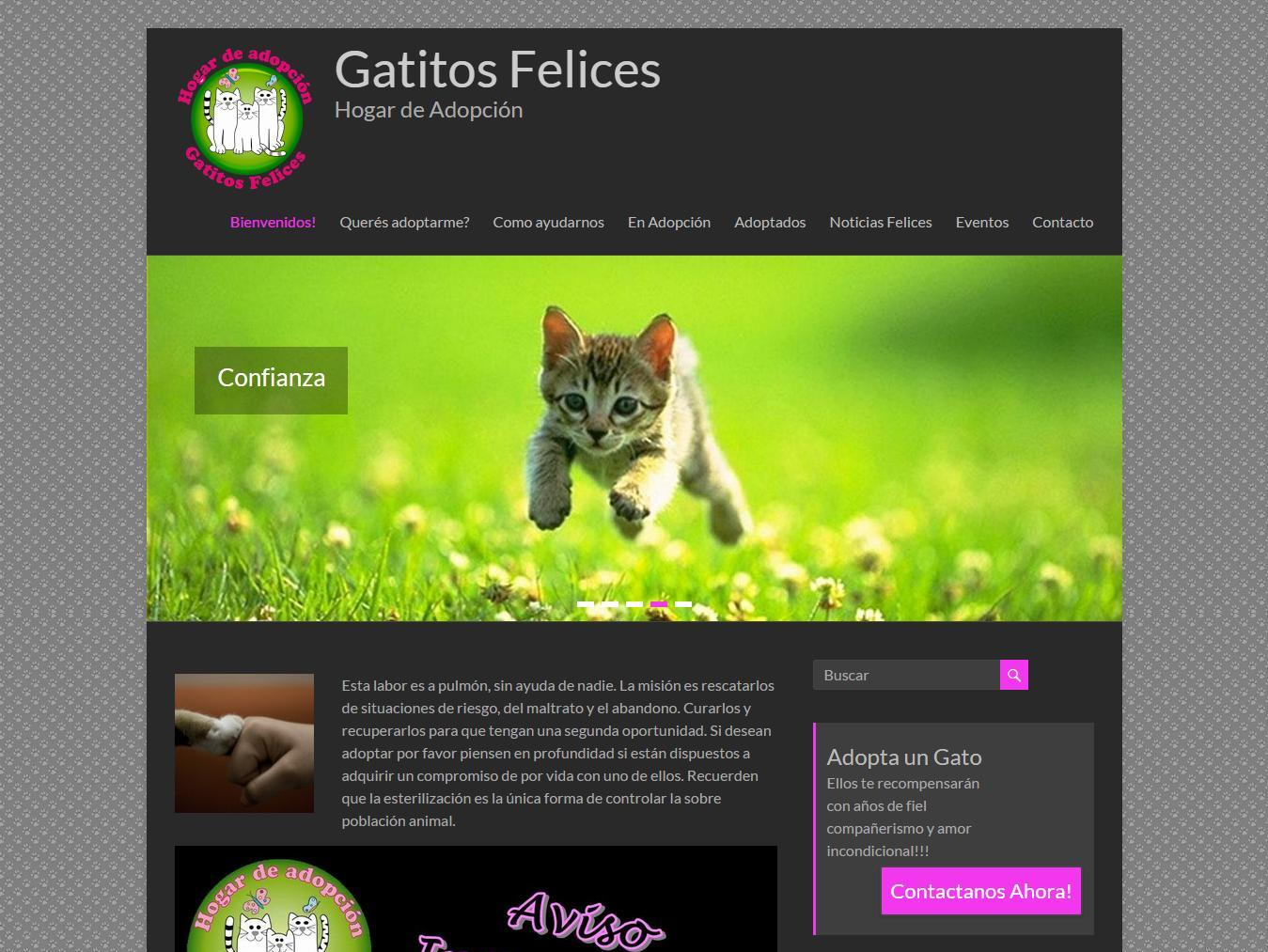 Screenshot del sitio Web de Gatitos Felices